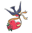 Bluebird carries over red heart on ribbon tattoo