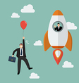 Businessman on a rocket fly pass Businessman with vector image vector image
