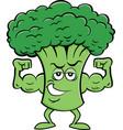 cartoon broccoli flexing his muscles vector image vector image