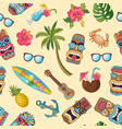 cartoon summer travel elements pattern vector image