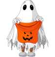 child in ghost costume vector image vector image