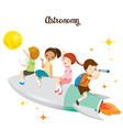 Children Sitting On Rocket Going To The Moon vector image vector image