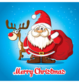Christmas card with Santa and deer vector image vector image