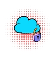 Cloud security icon comics style vector image vector image