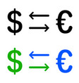 conversion of dollar and euro icon vector image