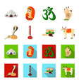 country india cartoonflat icons in set collection vector image