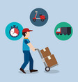 delivery service worker character with set icons vector image vector image