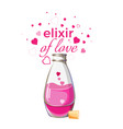 elixir love bottle with pink liquid and hearts vector image