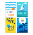 enjoy summer holiday trip beach party banners set vector image vector image