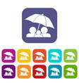 family under umbrella icons set vector image vector image