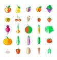 Farm fruits and vegetables flat icons set vector image vector image