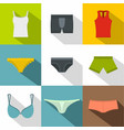 female linen icon set flat style vector image vector image