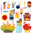fire fired house with burnt door fiery vector image vector image