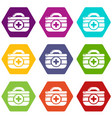 first aid kit icons set 9 vector image