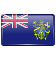 Flags Pitcairn Islands in the form of a magnet on vector image vector image