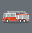 flat fire truck vector image vector image
