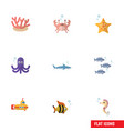 flat icon marine set of cancer hippocampus algae vector image vector image