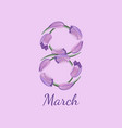 flower number eight gentle violet background vector image