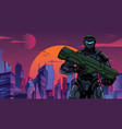 futuristic soldier in city close-up vector image vector image