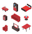 isometric 3d interior comfortable wood furniture vector image