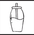jar with drinking straw doodle icon vector image