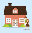 lovely couple with home house vector image vector image