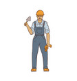 male builder in overalls hard hat trowel and vector image