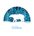 merry christmas card white bear in the snow vector image
