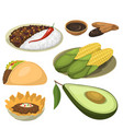 mexican traditional food meal plates isolated vector image