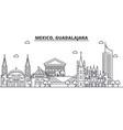 mexico guadalajara architecture line skyline vector image vector image