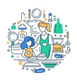 Mother and daughter at the kitchen - line design vector image vector image