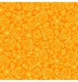 Orange abstract doodle flowers seamless pattern vector image vector image