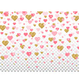 pink and gold glitter heart confetti on vector image