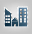 real estate sign blue icon with outline vector image