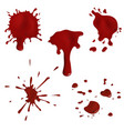 realistic blood splatters and drops set vector image vector image