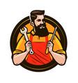 repair maintenance logo or label repairman holds vector image vector image
