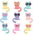 set colorful cats isolated on white background vector image vector image