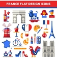 set flat design france travel icons vector image