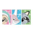 set of cute animals card vector image vector image