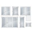 set of white plastic windows vector image vector image