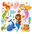 set with animals and mermaids vector image vector image