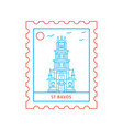 st bavos postage stamp blue and red line style vector image