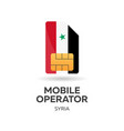 syria mobile operator sim card with flag vector image vector image
