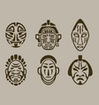 tribal mask set of africa asia and america vector image vector image
