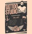 vintage tattoo studio poster vector image vector image