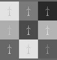 wind turbine logo or sign grayscale vector image