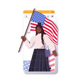 woman holding usa flag celebrating 4th july vector image