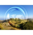 World map and blurred circle on landscape vector image