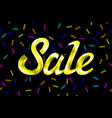 yellow text sale lettering on black background vector image vector image
