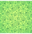 Green abstract doodle flowers seamless pattern vector image